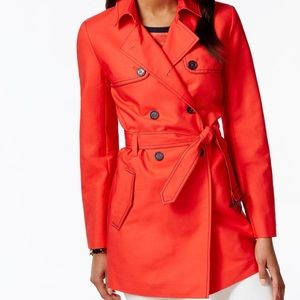 Tommy Hilfiger Tench Coat Red Belted Sexy Jacket